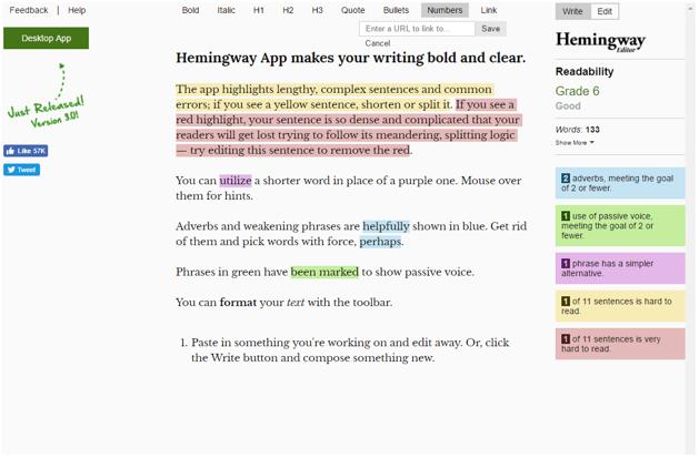 Hemingway App xác định lỗi văn phạm