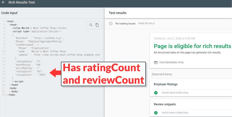 Hình ảnh Mixed Rating và Review Count code trong Employer Aggregate Rating