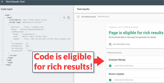 Hình ảnh code với thuộc tính reviewCount trong Employer Aggregate Rating