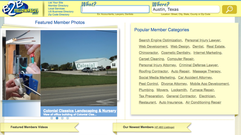 Web Directories: B2B Yellow Pages