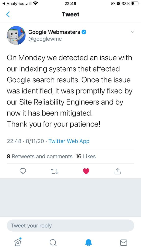 Google xác nhận đó là lỗi