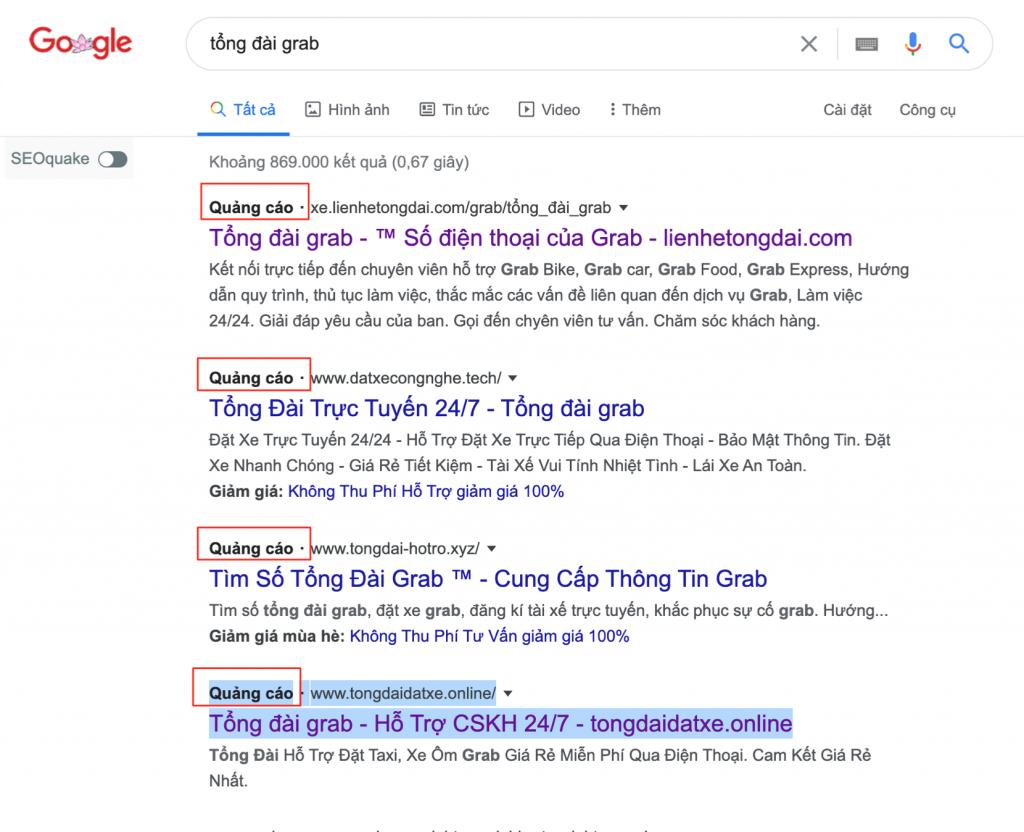 Hình ảnh ghi nhật một số website quảng cáo giả mạo tổng đài Grab trên Google