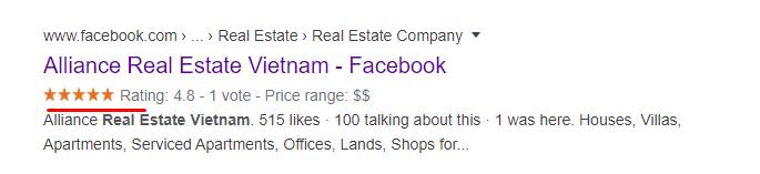 Facebook trên kết quả tìm kiếm