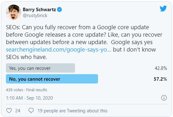 Khảo sát về hồi phục site giữa hai đợt broad core update