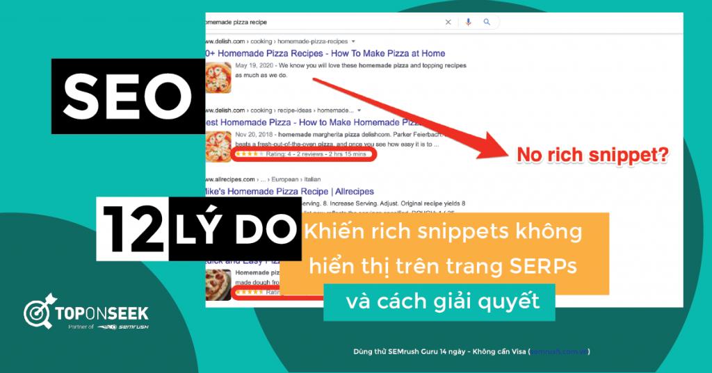 Ví dụ về rich snippets không hiển thị trên trang SERPs của Google