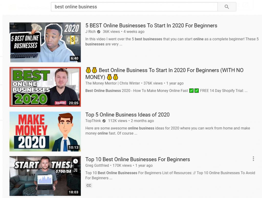 Tìm kiếm best online business trên youtube