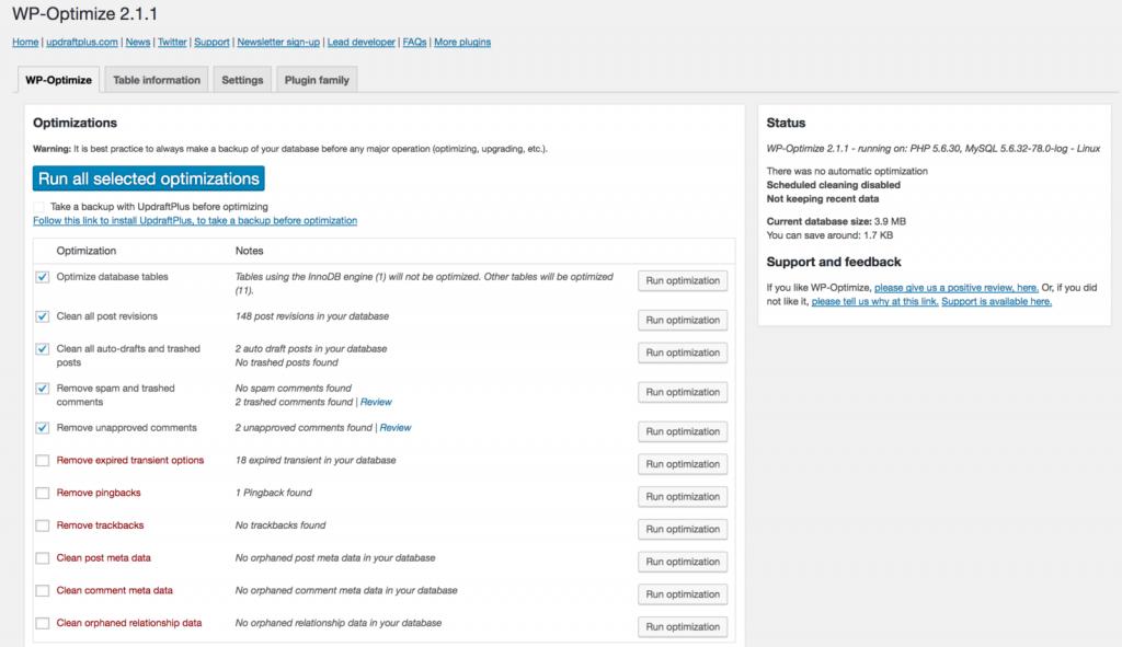 Website WP-Optimize: