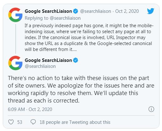 Bài đăng của Google trên Twister về lỗi Google Index 2