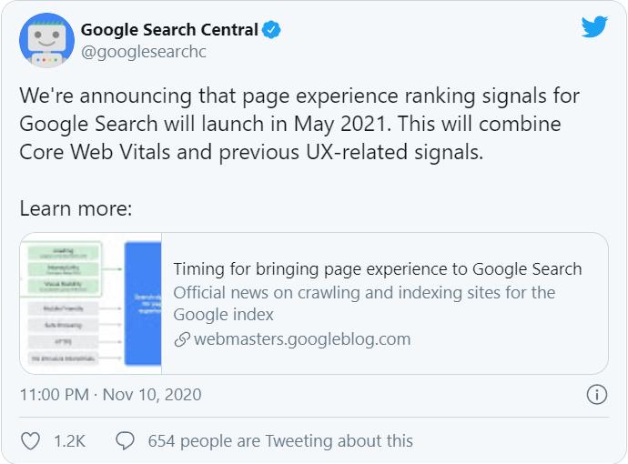 Google thông báo trên Twitter về Core Web Vitals