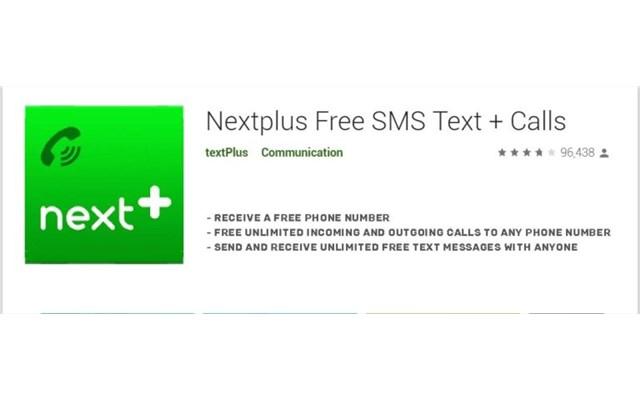 Nextplus Free SMS Text and Call - Ứng dụng cung cấp số điện thoại ảo để tạo tài khoản Gmail