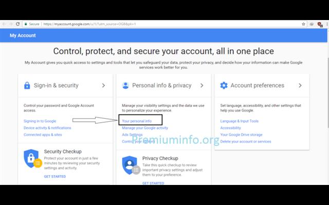 Personal info nhấp vào Phone option có chứa số điện thoại đã đăng ký