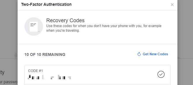 Dùng Saved Recovery Codes khi đăng nhập facebook