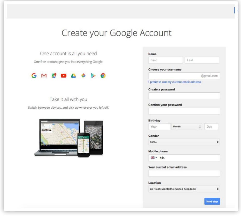 Bước đầu tiên của cách tạo tài khoản Google