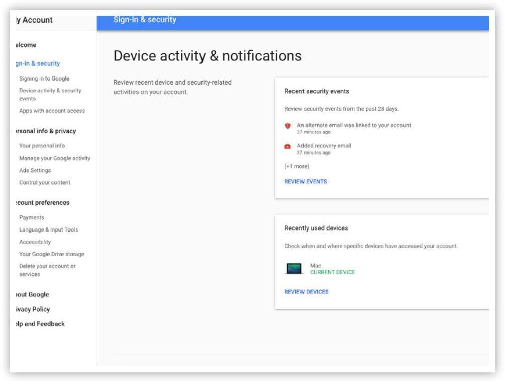 Quản lý hoạt động và thông báo của thiết bị khi đăng nhập Google
