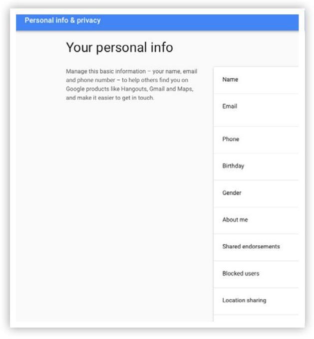 Cài đặt tài khoản Google - bước 6: Trang thông tin cá nhân
