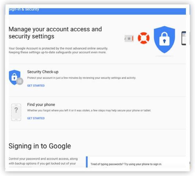 Cài đặt tài khoản Google - Quản lý quyền truy cập tài khoản và cài đặt bảo mật
