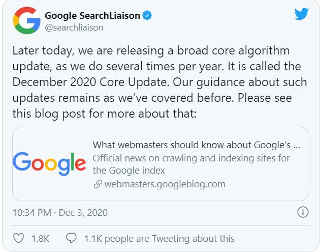 thông báo chính thức: Google cập nhật thuật toán 12/2020