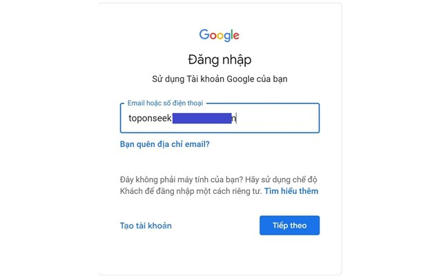Truy cập vào trang đăng nhập Gmail