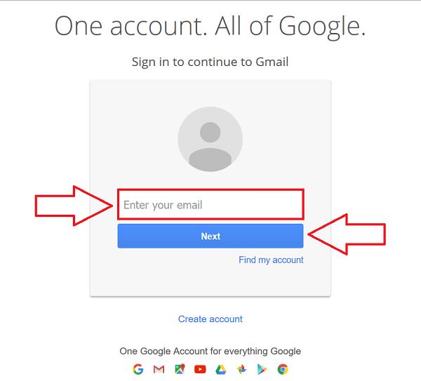 Đăng nhập vào gmail để truy cập vào Search Console