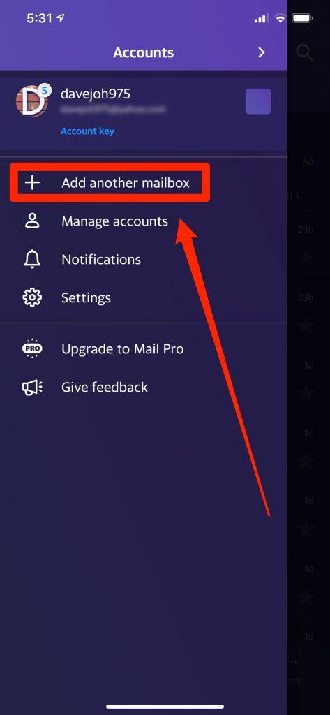 Menu để thêm tài khoản trong app Yahoo Mail