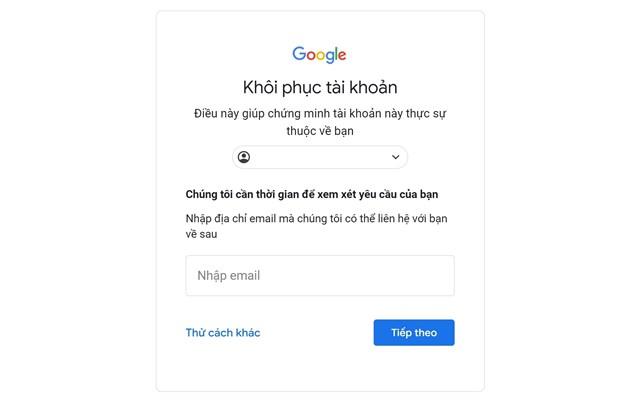 Khôi phục tài khoản gmail