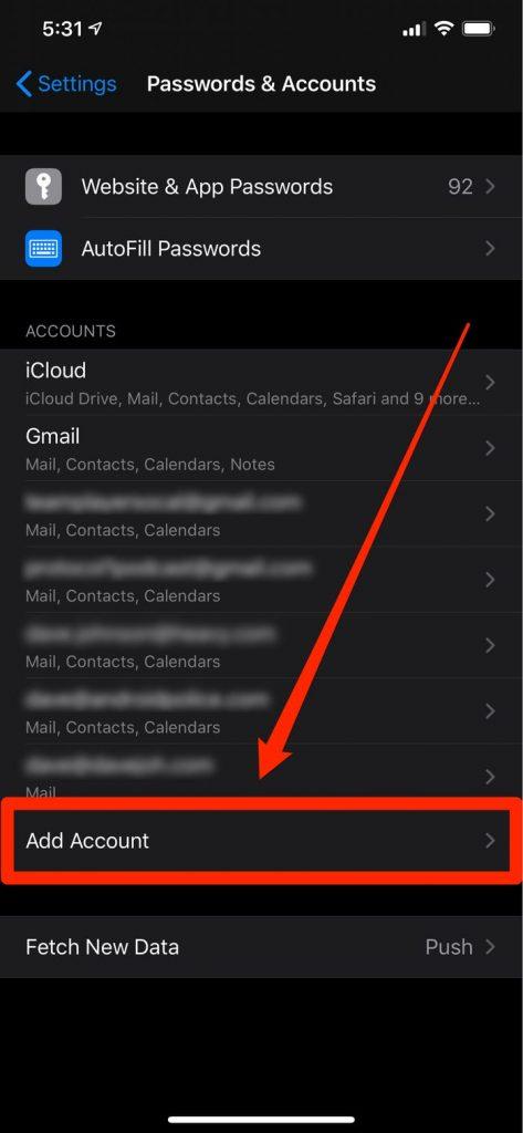 Mục Setting cho phép bạn có nhiều tài khoản kể cả Yahoo Mail (Nguồn: Internet)