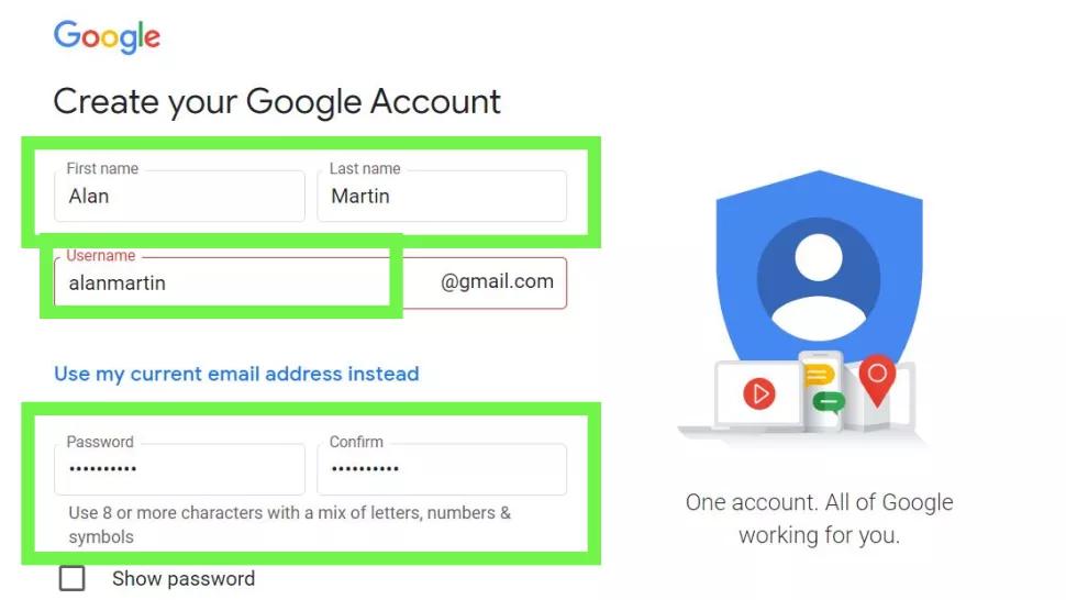 Trang đăng kí Gmail của Google