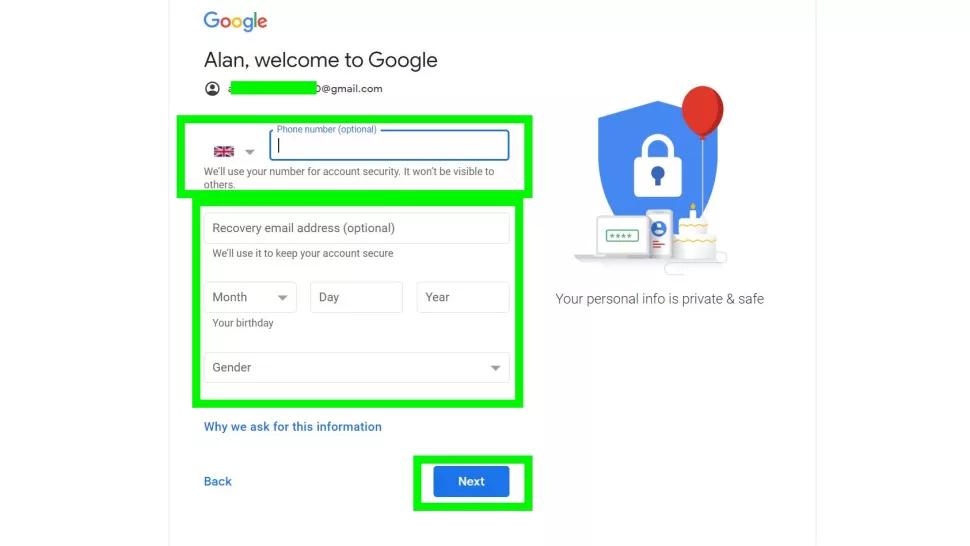 Điền thông tin cá nhân vào trang đăng ký gmail