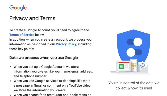 Hoàn thành phần Privacy and Terms