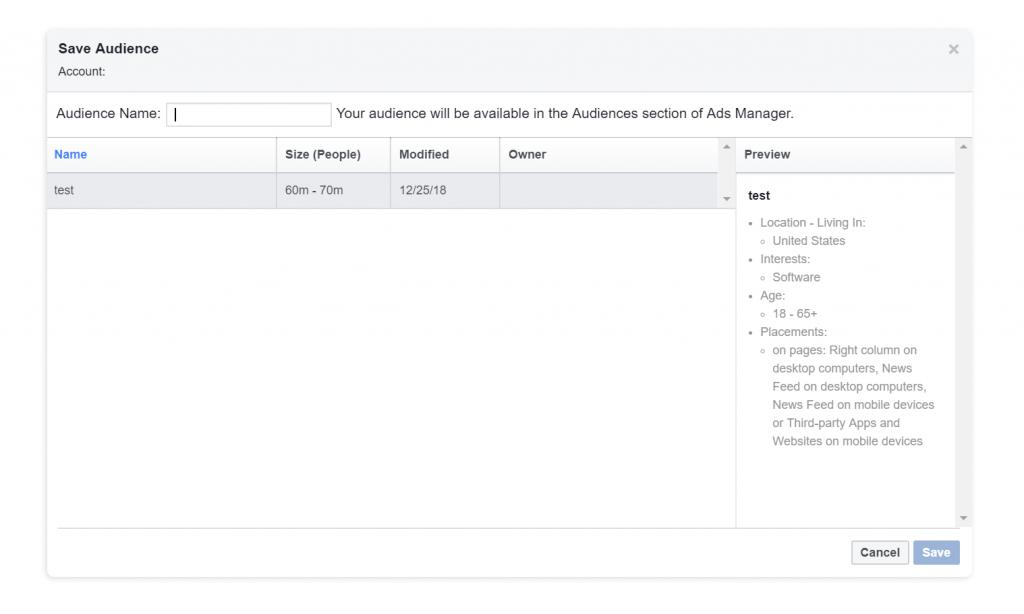 Cách lưu đối tượng khách hàng trong Facebook Audience Insights
