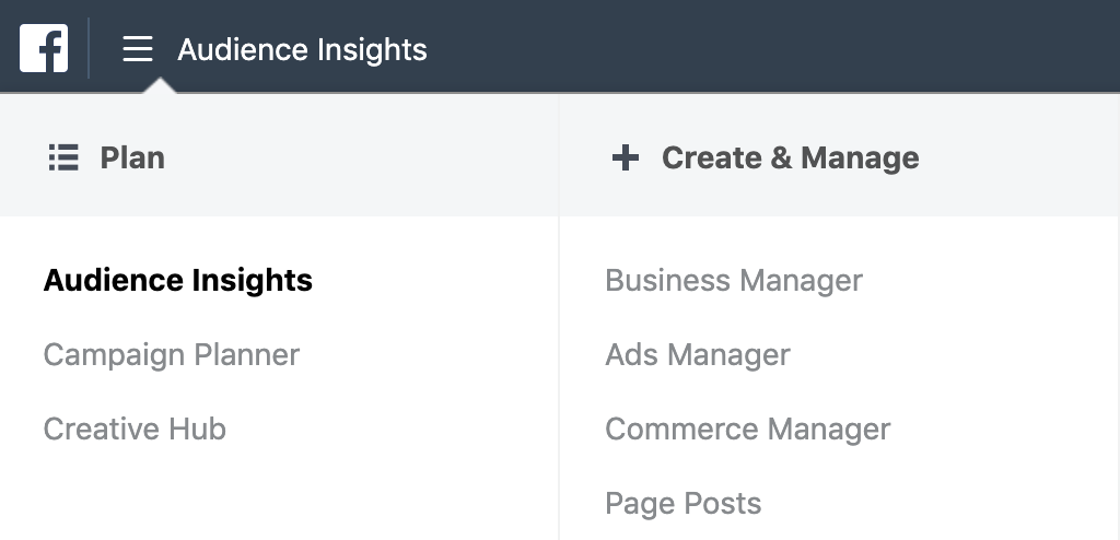 "Click vào ""Audience Insights"" để truy cập Facebook Audience Insights"