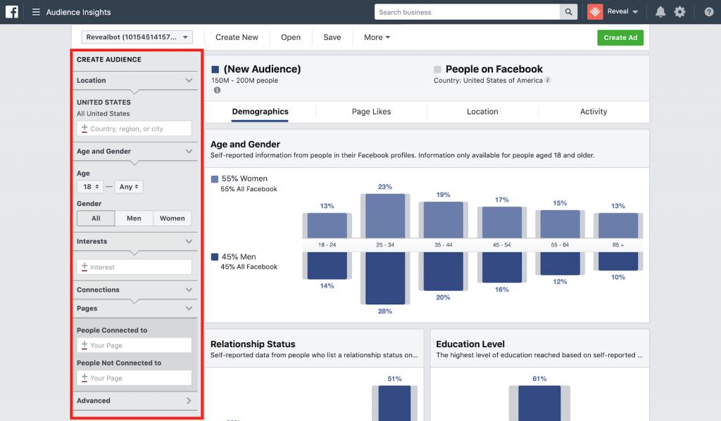 Kiến thức cơ bản về bộ lọc Facebook Audience Insights