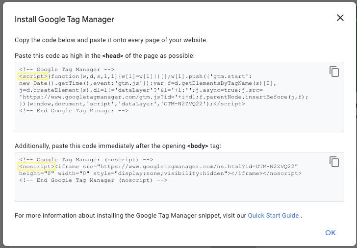 Gắn code theo gợi ý của Google tag manager ga4 lên trang Web