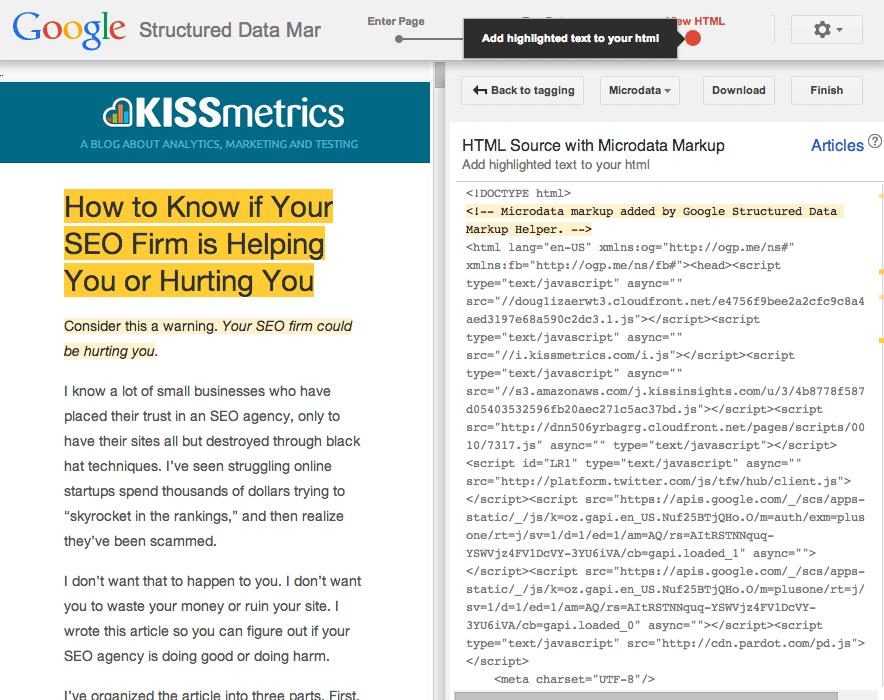 Bạn sẽ thấy HTML của trang với microdata có liên quan