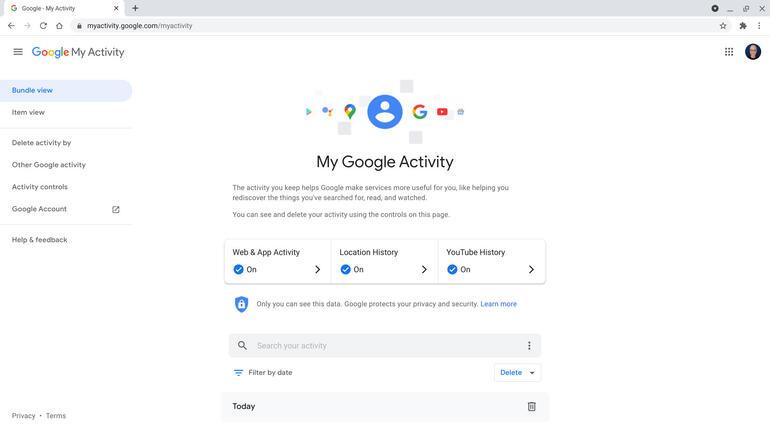 Trang Hoạt động trên Google của tôi hiển thị mọi quyền truy cập được ghi lại vào các trang web, ứng dụng, vị trí và YouTube.
