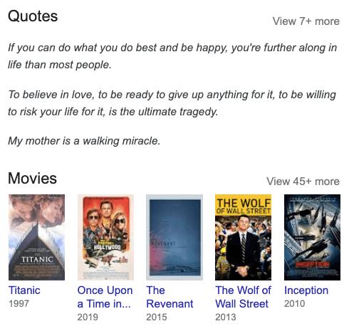 Tìm kiếm thông tin về Leonardo DiCaprio