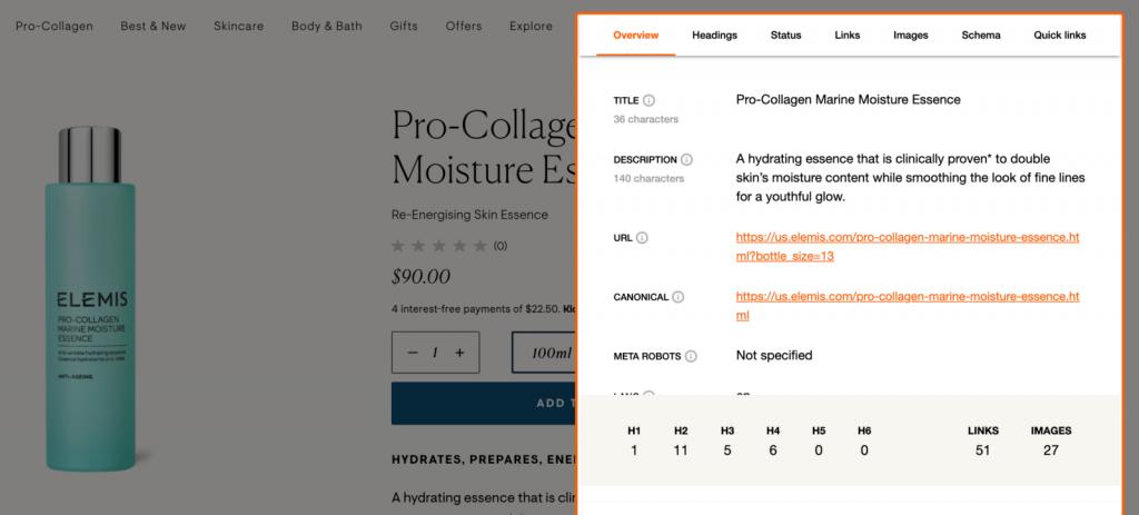 JavaScript làm được gì -  sử dụng tiện ích mở rộng SEO Pro để xem thẻ Tiêu đề và các thẻ quan trọng khác
