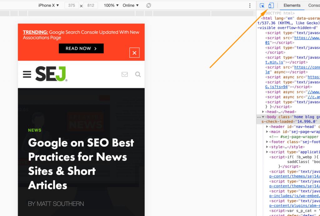 JavaScript làm được gì - chế độ xem trên thiết bị di động trong công cụ kiểm tra của Chrome