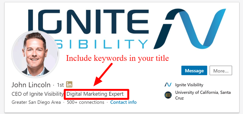 LinkedIn SEO: Bao gồm các từ khóa trong tiêu đề và phần mô tả của bạn