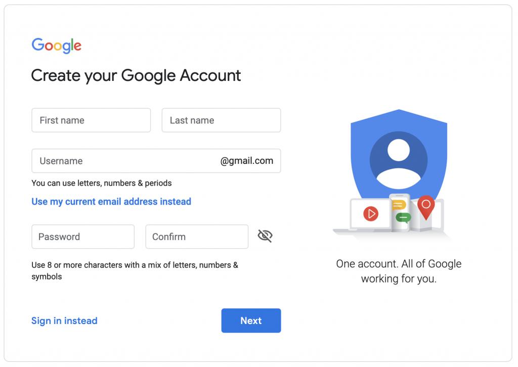 Tạo tài khoản Gmail - điền thông tin