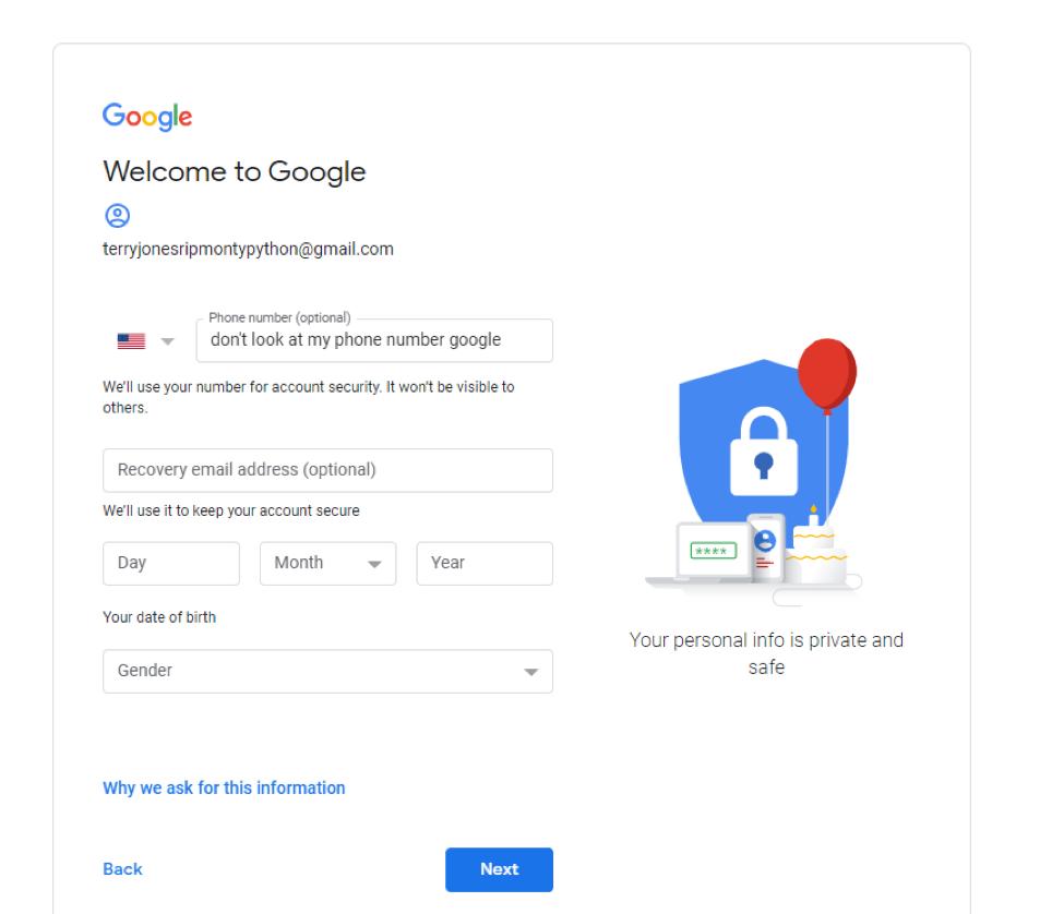 Tạo tài khoản Gmail - điền thông tin cá nhân