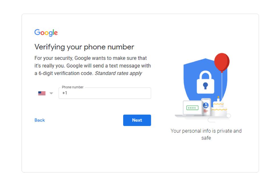 Tạo tài khoản Gmail - xác minh số điện thoại