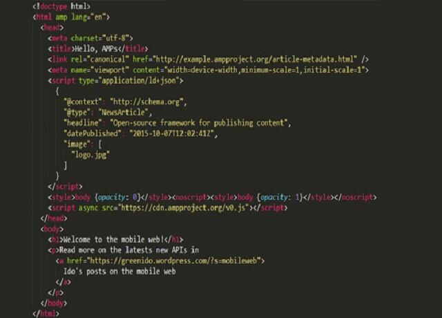 Ví dụ cấu trúc HTML trang AMP