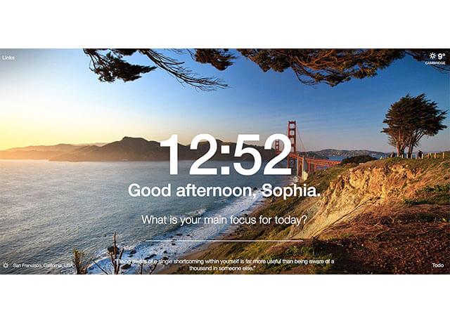 Hình ảnh, dự báo thời tiết và thời gian trên Momentum Chrome Extensions   Top On Seek