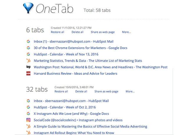 Hình ảnh tiện ích One.Tab trên Chrome Extensions   Top On Seek