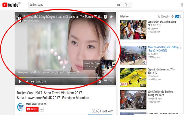 quảng cáo trong luồng trên Youtube