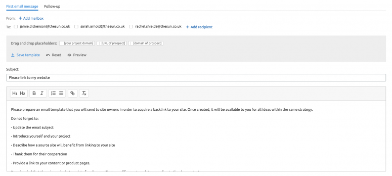 Skyscraper - gửi email tiếp cận