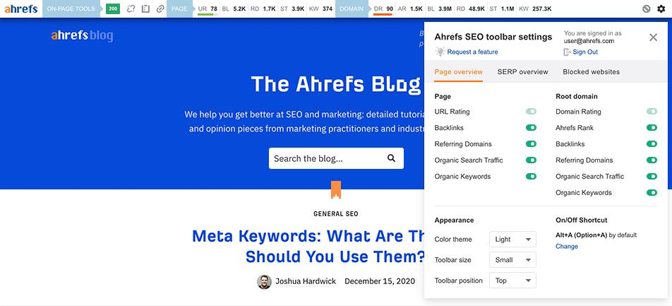 Ahrefs Toolbar - technical seo cơ bản