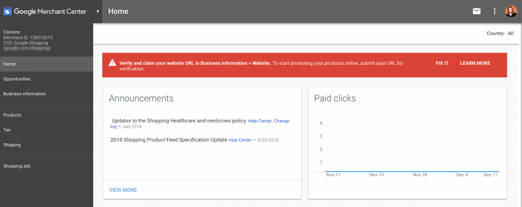 Tạo tài khoản Google Merchant Center