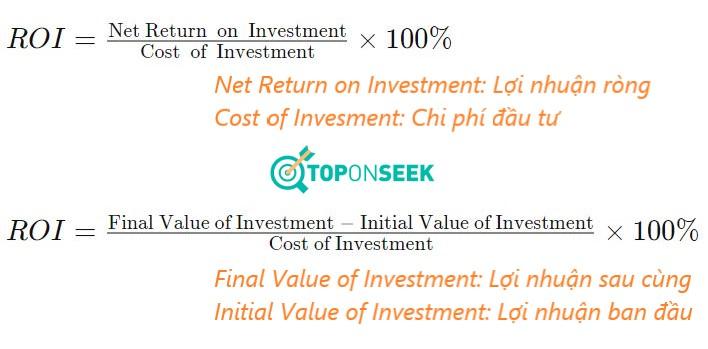 ROI được tính bằng lợi nhuận ròng trong một thời gian nhất định chia cho chi phí đầu tư